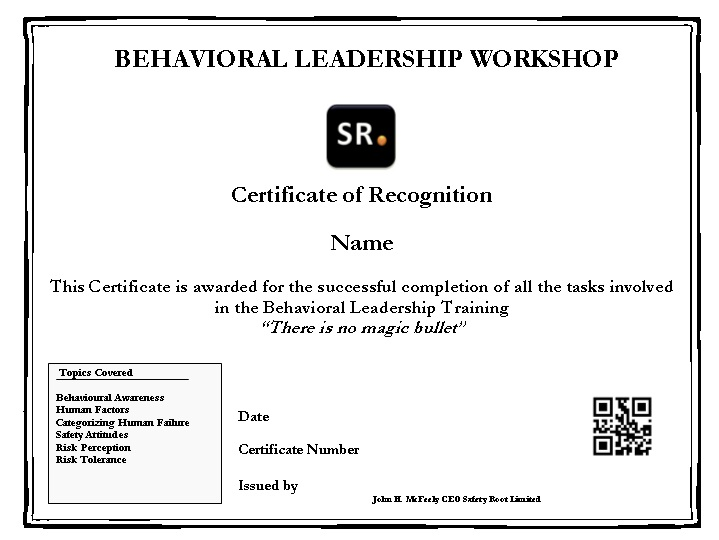 Behavioural Leadership Certificate Behavioural Leadership Workshop